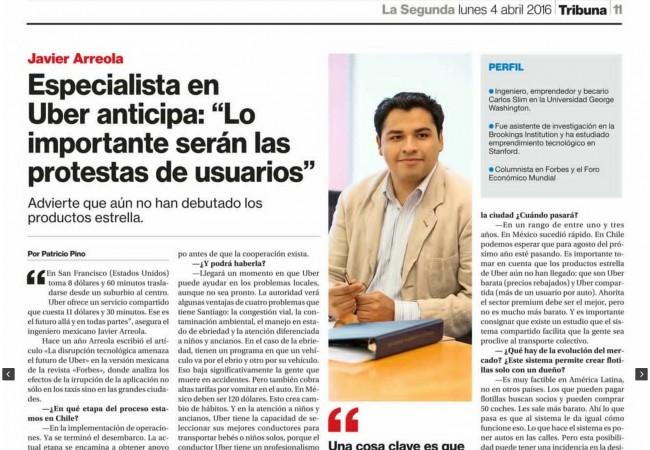 """Entrevista para Diario """"La Segunda"""" de Santiago de Chile"""